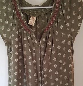 FADED GLORY CAP SLEEVE SAGE GREEN BLOUSE